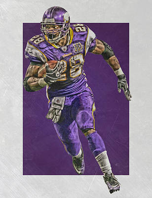 Adrian Peterson Minnesota Vikings Art Poster by Joe Hamilton