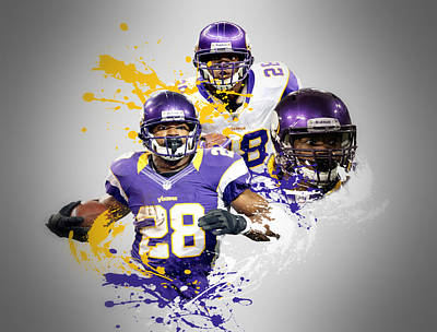 Adrian Peterson Vikings Poster by Joe Hamilton