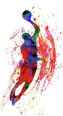 Basketball Player Poster by Elena Kosvincheva