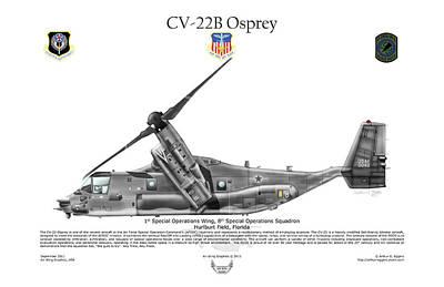 Bell Boeing, Cv-22b, Osprey Poster by Arthur Eggers