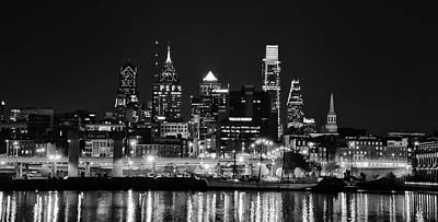 Black And White Cityscape - Philadelphia Poster by Bill Cannon