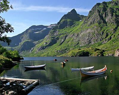 Boats In Lofoten Poster by Helene Sobol