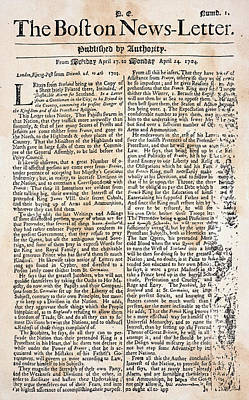 Boston News-letter, 1704 Poster by Granger