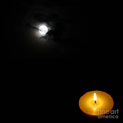 Candle Light Vs Moon Light Poster by Celestial Images