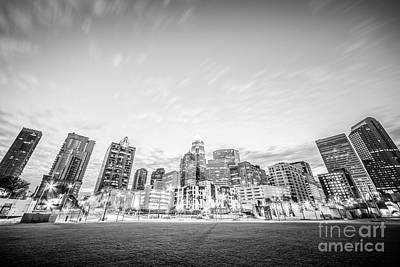 Charlotte Skyline Black And White Photo Poster by Paul Velgos
