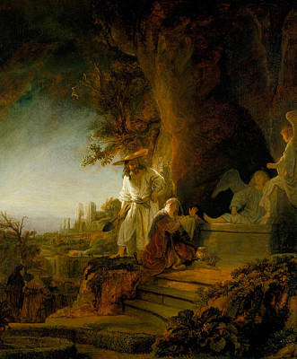Christ And St Mary Magdalen At The Tomb Poster by Rembrandt van Rijn