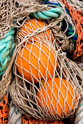 Colorful Fishing Nets And Buoys Poster by Carol Leigh