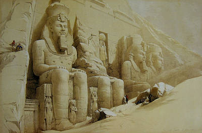 Colossal Figures In Front Of The Great Temple Of Aboo-simbel Poster by David Roberts