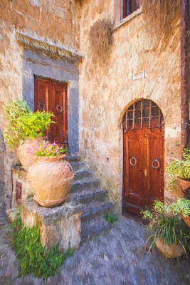 Courtyard Of Tuscany Poster by David Letts