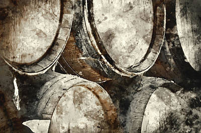 Dark Wine Barrels To Store Vintage Wine Poster by Brandon Bourdages