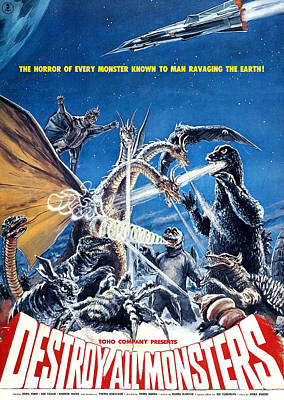 Destroy All Monsters, Aka Kaiju Poster by Everett