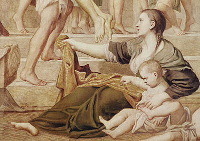 Detail Of Saint Cecilia Distributing Alms Poster by Domenichino