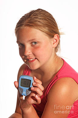 Diabetic Child With Blood Glucose Tester Poster by Ted Kinsman