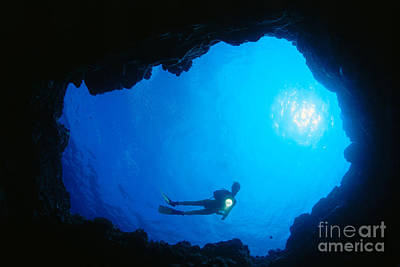 Diver At Cavern Entrance Poster by Dave Fleetham - Printscapes
