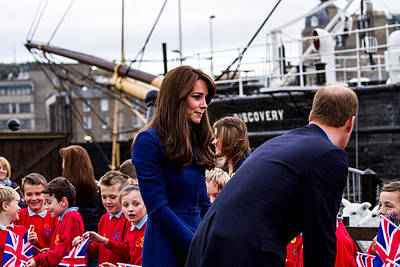 Duke And Duchess Of Cambridge Prince William And Kate Middleton Visit Dundee Poster by Euan Donegan