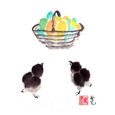 Easter Chicks Poster by Oiyee At Oystudio