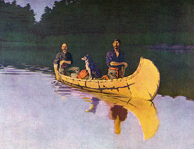 Evening On A Canadian Lake Poster by Frederick Remington