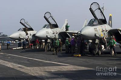 F-14d Tomcats On The Flight Deck Of Uss Poster by Gert Kromhout