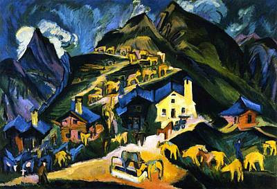 Farmers Driving Cattle To A Alpine Pasture Poster by Ernst Ludwig Kirchner