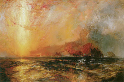 Fiercely The Red Sun Descending Burned His Way Along The Heavens Poster by Thomas Moran