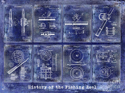 Fishing Reel Patent History Poster by Jon Neidert