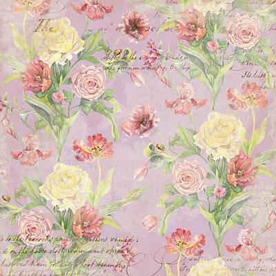 Fleurs De Pivoine - Watercolor In A French Vintage Wallpaper Style Poster by Audrey Jeanne Roberts