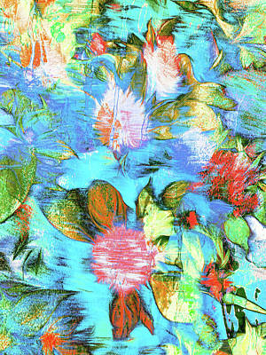 Floral Digital Pattern Poster by Tom Gowanlock