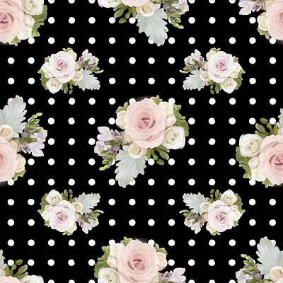 Floral Rose Cluster W Dot Bedding Home Decor Art Poster by Audrey Jeanne Roberts