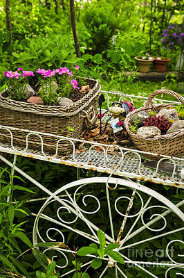 Flower Cart In Garden Poster by Elena Elisseeva