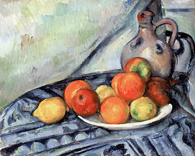 Fruit And A Jug On A Table Poster by Paul Cezanne