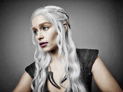 Game Of Thrones Khaleesi Daenerys Targaryen Emilia Clarke Poster by Tony Rubino