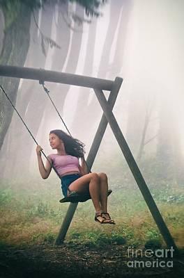 Girl In Swing Poster by Carlos Caetano