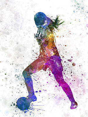 Girl Playing Soccer Football Player Silhouette Poster by Pablo Romero