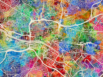 Glasgow Street Map Poster by Michael Tompsett