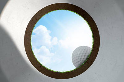 Golf Hole With Ball Approaching Poster by Allan Swart