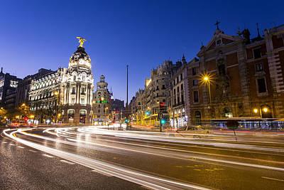 Gran Via Of Madrid, Spain Poster by David Ortega Baglietto