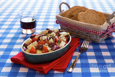 Greek Salad With Feta Cheese Olives Tomatoes Cucumber And Onions Poster by Luigi Morbidelli