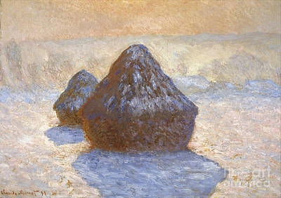 Haystacks - Snow Effect Poster by Claude Monet