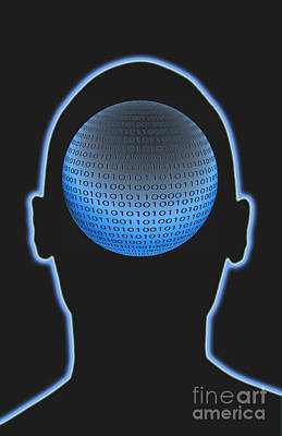 Head With Binary Numbers Poster by George Mattei