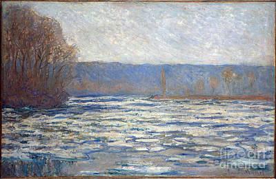 Ice Breaking Up On The Seine Near Bennecourt Poster by Claude Monet