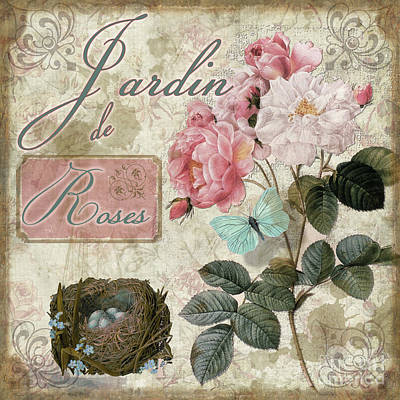 Jardin De Roses Poster by Mindy Sommers