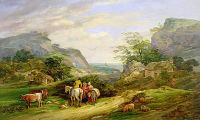 Landscape With Figures And Cattle Poster by James Leakey