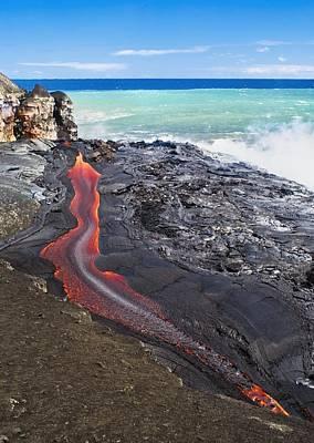 Lava Flowing Into Ocean, Hawaii Poster by David Nunuk