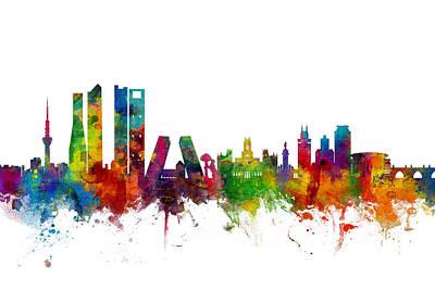 Madrid Spain Skyline Poster by Michael Tompsett