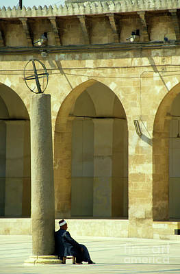 Man Sitting Inside The Great Mosque Of Aleppo Poster by Sami Sarkis