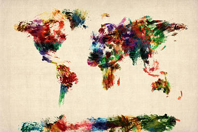 Map Of The World Map Abstract Painting Poster by Michael Tompsett