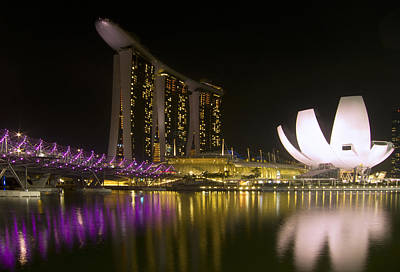 Marina Bay Sands Hotel And Artscience Museum In Singapore Poster by Zoe Ferrie