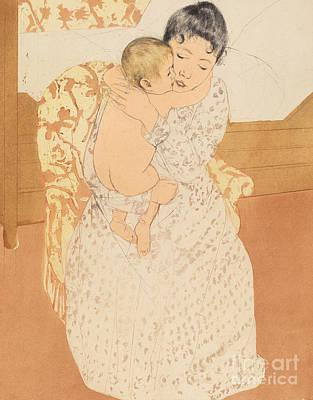 Maternal Caress Poster by Mary Stevenson Cassatt
