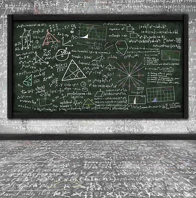 Maths Formula On Chalkboard Poster by Setsiri Silapasuwanchai