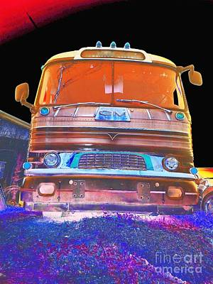 Mid Century Gm Greyhound Bus Abstract Poster by Scott D Van Osdol